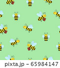 Seamless pattern of funny cartoon bees on a green background. 65984147