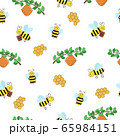 Seamless pattern of funny cartoon bees and a hive on a branch on a white background. 65984151
