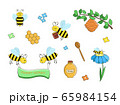 Set of bees and honey. Vector drawings of funny honey bees and beehives. 65984154