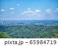 高尾山 初夏の登山道 稲荷山コース あずま屋から東京都心方面の眺望 65984719