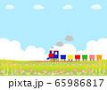 汽車 花畑背景 65986817