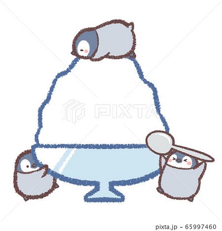 かき氷ペンギンヒナ達のイラスト素材