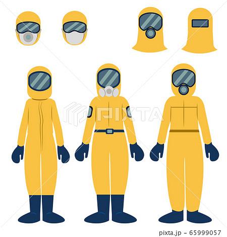 防護服を着た人物イラストセット 65999057
