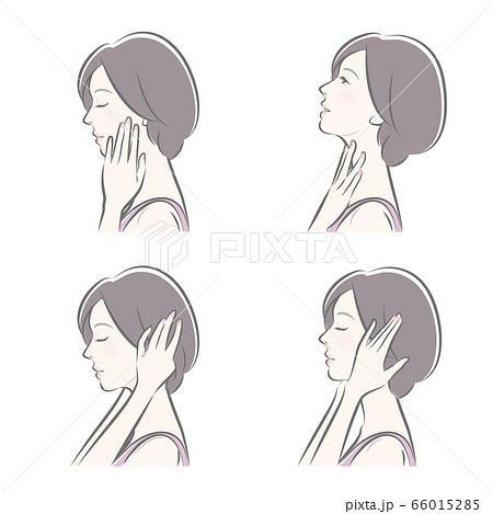 女性の横顔の表情イラスト 66015285