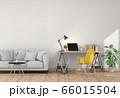 3D rendering of interior modern living room workspace with sofa, desk, laptop computer 66015504