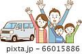 4人家族と自動車のイメージイラスト 66015886