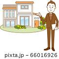 一軒家を案内しているビジネスマンのイメージイラスト 66016926
