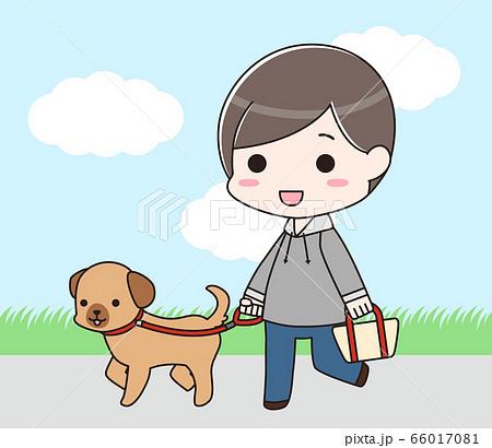 犬の散歩をする男性(背景付き) 66017081