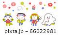 ハロウィンのおばけの衣装を着てポーズする子どもたち / 4色・シンプルカラー 66022981