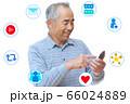 男性がスマートフォンでSNSを楽しむイメージ 66024889