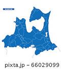 青森県地図 シンプル青 市区町村 66029099