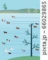 鴨、白鳥など冬鳥たちのいる水辺の風景 フラットデザイン 66029865