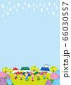 雨の日のアジサイと傘を差した可愛い子どもたち 66030557