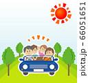 家族でオープンカーに乗ってドライブのイラストイメージ 66051651