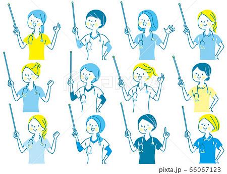 若い女性 医師 看護師 整体師 白衣 表情セット 66067123