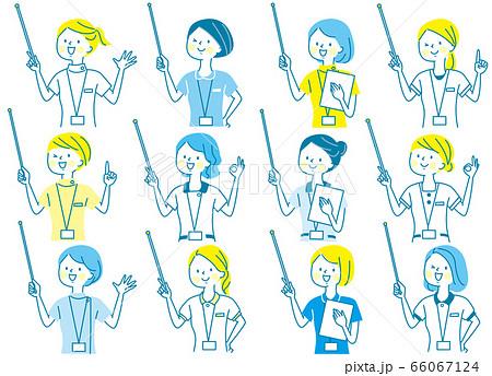 若い女性 看護師 整体師 白衣 表情セット 66067124