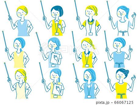 若い女性 看護師 整体師 受付 白衣 表情セット 66067125