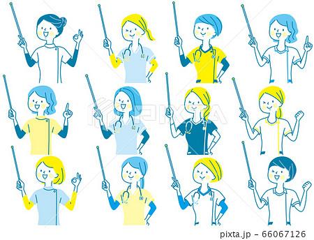 若い女性 医師 看護師 整体師 白衣 表情セット 66067126