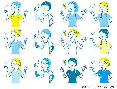 若い女性 医師 看護師 整体師 白衣 表情セット 66067129