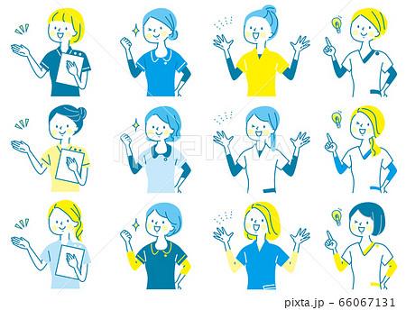 若い女性 医師 看護師 整体師 受付 白衣 表情セット 66067131