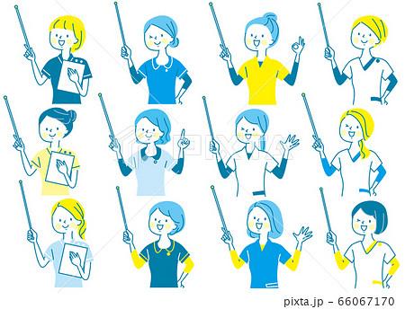 若い女性 看護師 整体師 白衣 表情セット 66067170