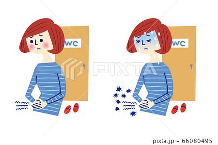 腹痛に苦しむ女性 66080495