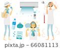 熱中症対策,夏,女性,イラスト, 66081113