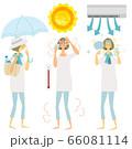 熱中症対策,夏,女性,イラスト, 66081114