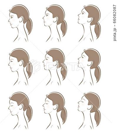 女性の横顔の表情イラスト 66082087