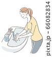 目をつぶり手を洗う女性 66082834