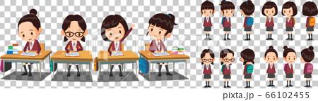 교복을 입은 여학생들이 학교 책상에서 공부하고 있다. 학생 벡터 캐릭터 턴어라운드.  66102455