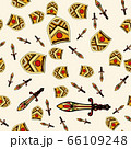 The endless pattern consists of stylized shields and swords. A good pattern for children s room wallpaper or wrapping paper. The old aristocracy and chivalry. 66109248
