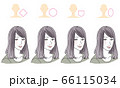 顔型別ヘアスタイルイラスト 66115034