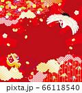 鶴と初日の出 背景イラスト 66118540