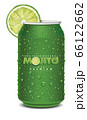 mojito juice can with many juice drops, lime slice	 66122662