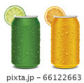 Lime and Orange juice can with many juice drops, fruit slices 66122663