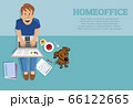 Working Man sitting at home with laptop, dog, drinks	 66122665
