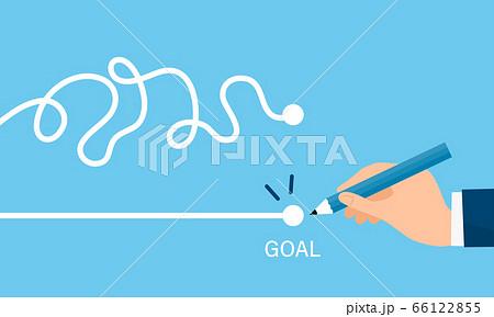 線を引く手、最速で目標達成するイラストイメージ 66122855