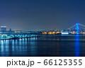 青色にライトアップされたレインボーブリッジや豊洲ふ頭等の景色 66125355