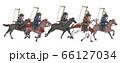 日本の戦国時代-騎馬兵軍団-横姿 66127034