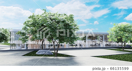 Office glass building with wooden planks on the 66135599