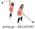 ゴルフ ドライバーでティーショットを打つ女性 66140397