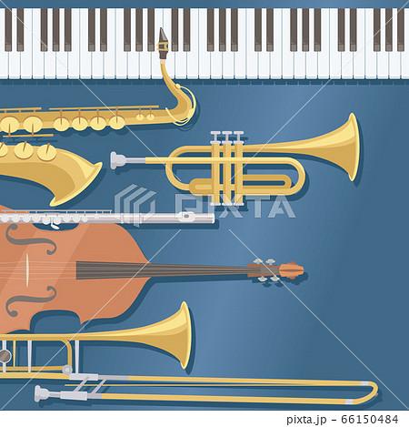 ダークブルーの背景に配置された楽器。ピアノ、金管楽器。ビッグバンドジャズのイメージ。 66150484