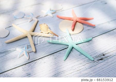 木製テーブル上に置かれたカラフルなヒトデや貝 海のイメージ 66153912