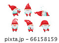 Fantastic Gnome or Dwarf Character with Red Hat and White Beard Sleeping and Carrying Gift Box Vector Set 66158159