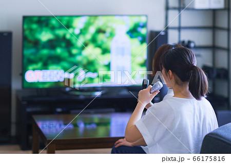 家庭用ゲーム機のアプリで「おうちカラオケ」を楽しむ女性 66175816