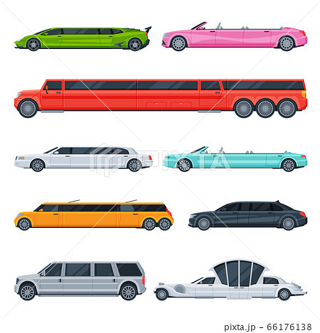 Retro and Modern Limousine Cars Collection, Elegant Premium Luxurious Limo Vehicles, Side View Flat Vector Illustration 66176138