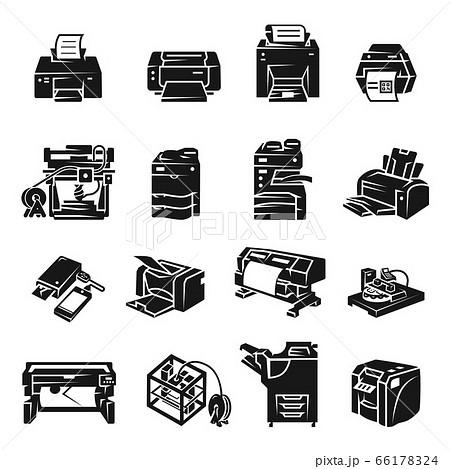 Printer icon set, simple style 66178324