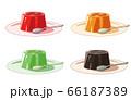 お皿にのったゼリー(スプーン付き) 66187389
