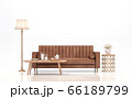 Vintage brown leather sofa on white background 3d render 66189799